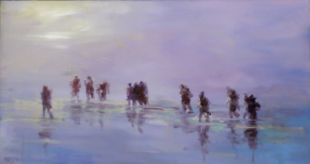 Wadlopers in de mist