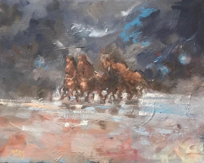 Paarden in ruig weer